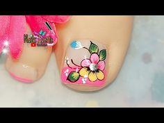 Pretty Toe Nails, Pretty Toes, Blue Acrylic Nails, Toe Nail Art, Pedicure, Tattoos, Nailart, Youtube, Nail Designs