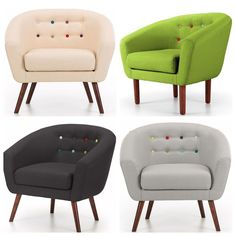 Armchair Sofa 1 Seater Couch Fabric Futon Relax Furniture Cream/Black/Lime/Grey