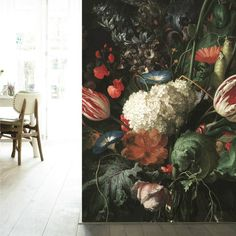 HUGE golden age flowers I mural For entry wall. Photo Wallpaper, Wall Wallpaper, Pattern Wallpaper, Amsterdam Photos, Amazing Paintings, Burke Decor, Floral Wall, Flower Vases, Flower Arrangements
