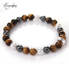 Thomas Colorful Material Mix Featuring Tiger Eye Pearl Bead Charm Bracelet, Glam Jewelry Soul Gift for Women TS 267