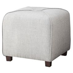 The Threshold Ottoman X Cube in Gray is a great place to rest your feet at the end of a long day. Its super-plush foam filling is covered in a soft, durable and gray polyester fabric.