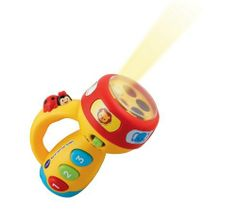 VTech Spin and Learn Color Flashlight by V Tech. $12.99. From the Manufacturer                The Spin and Learn Color Flashlight from VTech will light up your child's life. With its engaging ladybug button that speaks to your child and three colorful buttons, your child will learn all about numbers as they hear fun songs. The flashlight glows with a rainbow of colors and can be changed by spinning the ring that also teaches your child about colors and animals. With it...