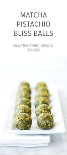 (gluten-free, vegan, paleo) Matcha pistachio bliss balls are the perfect healthy snack.