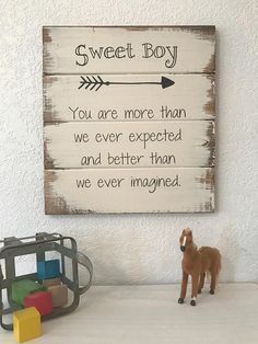 "Sweet Boy 13""x14"" hand-painted sign"