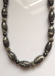 Mens Gray and Silver Fossil Beaded Necklace – JaeBee Jewelry