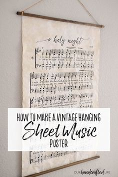 DIY Vintage Poster Frame - Our Handcrafted Life I love the style of . DIY Vintage Poster Frame – Our Handcrafted Life I love the style of old vintage hangi Diy Vintage, Vintage Decor, Vintage Style, Vintage Market, Vintage Sheet Music, Vintage Sheets, Framed Sheet Music, Diy Craft Projects, Cadre Diy