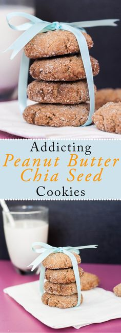 Much healthier Peanut Butter Chia Seed Cookies made with natural peanut butter. These peanut butter cookies have nearly 1/3 less calories than your classic peanut butter cookie recipe. Delicious, perfect with milk and toddler/kid approved! Healthy, Vegan, Dairy-free and Egg-free | VeganFamilyRecipes.com | #dessert #pb