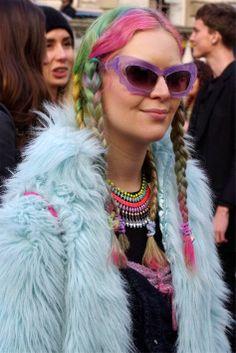 Sporting multicolored braids in London. (Photo: Simon McGill)