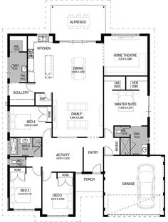 Modern home design Best House Plans, Dream House Plans, House Floor Plans, Home Bedroom Design, Bedroom Designs, Bedroom Ideas, Master Bedroom Plans, Brick Construction, Home Theater Rooms