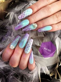 Best Acrylic Nails, Acrylic Nail Designs, Nail Art Designs, Beach Nail Designs, Cute Nails, Pretty Nails, My Nails, Gorgeous Nails, Mermaid Nail Art