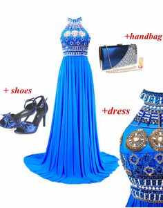 Fabulous Halter Beaded Blue Prom Dresses Gorgeous Long Pageant Gown open back