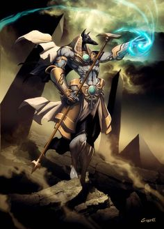 Anubis by GENZOMAN on deviantART Anubis is the Egyptian god who judges whether you are worthy to admit into the underworld, and guides your journey there.