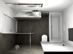 Douche meteen naast de deur. Wc direct naast het bad.