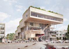 """NL Architects vence a competição para projetar o Centro ArtA de Arnhem""""aos resultados de estudos recentes que mostram que o hall, em muitos conjuntos artísticos, é a área central, onde há algo para se fazer e algo para experienciar."""""""