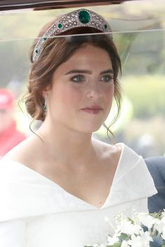 The bride Princess Eugenie of York arrives by car for her Royal wedding to Mr. Jack Brooksbank at St. George's Chapel on October 2018 in Windsor, England. Get premium, high resolution news photos at Getty Images Royal Tiaras, Royal Jewels, Crown Jewels, Wedding Gifts For Bride And Groom, Bride Gifts, Royal Brides, Royal Weddings, Princesa Eugenie, Eugenie Wedding
