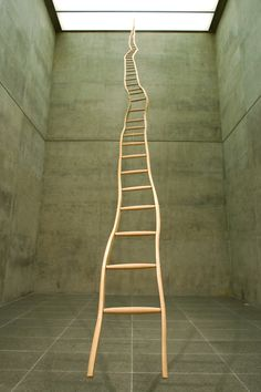 "So much more impressive in person--""Ladder for Booker T. Washington"", by Martin Puryear. 1996 installation view at the Modern Art Museum of Fort Worth, Texas. Photo © David Woo"