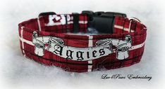 Texas A&M Adjustable Collar made with prewashed quality cotton fabric, heavy weight interfacing and durable contoured nylon acetate buckle. A small collar charm is included.  **Legal Disclaimer: My Sports themed items are NOT Officially Licensed products of the NFL, NCAA, or related teams and are not affiliated with Luv4paws in anyway. I make my collars with official, team licensed fabric and designs that I purchased. by Luv4PawsEmbroidery on Etsy