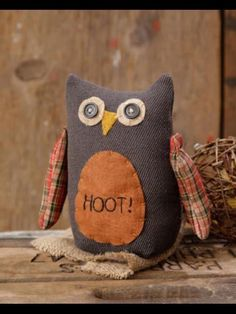 Primitive Owl Cotton Fabric Fall Autumn Country Home Decor Shelf Sitter Cute #prim