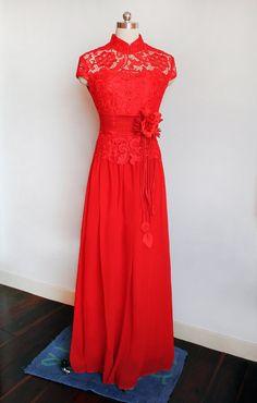 Red Lace Chinese Wedding Dress,Mandarin Collar long evening dress,brush Train Cheongsam,vintage Chinese Qipao,Custom Traditional prom dress