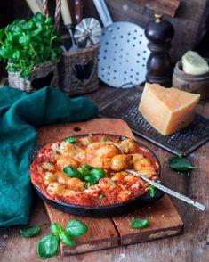 Картофельные клёцки в овощном соусе