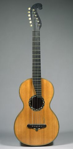 Guitar, ca. 1838 Christian Frederick Martin (American, born Germany, 1796–1873) New York Wood, various materials; L. 36 13/16 in. (93.5 cm) Rogers Fund, 1979 (1979.380a)
