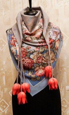 Felted scarf Tulips от MagikfeltAntonio на Etsy