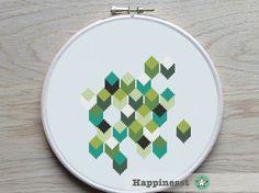 modern cross stitch pattern geometric PDF pattern par Happinesst