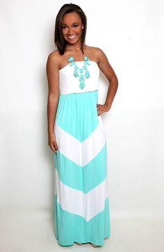 Block Again Chevron Maxi dress in Mint