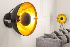 """Moderne Wandleuchte STUDIO schwarz gold Lampe Blattgold Optik - Die moderne Wandleuchte """"STUDIO"""" präsentiert sich im angesagten minimalistischen Retrodesign. Der schwarze, drehbare Schirm in Form eine"""