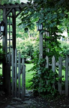 The wooden pergola is a good solution to add beauty to your garden. If you are not ready to spend thousands of dollars for building a cozy pergola then you may devise new strategies of trying out something different so that you can re Garden Gates And Fencing, Garden Arbor, Fence Gate, Arbor Gate, Picket Gate, Gates Driveway, Garden Bridge, Garden Entrance, Garden Doors