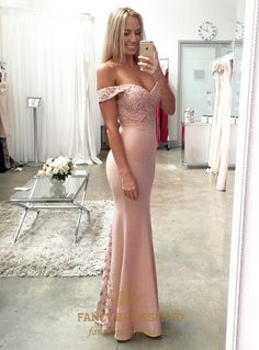 FancyBridesmaid.com Offers High Quality Light Pink Off The Shoulder Lace Embellished Mermaid Bridesmaid Dress,Priced At Only USD $107.00 (Free Shipping)