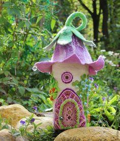 Polymer Clay Crafts, Felt Crafts, Wet Felting, Needle Felting, Felt Ornaments, Christmas Ornaments, Felt House, Felt Fairy, Fairy Lamp