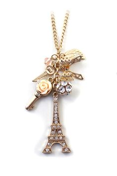 So Pretty! Eiffel Tower Vintage Long Gold Chain Necklace