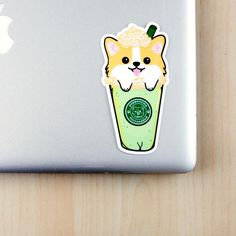 This listing includes 1 X corgi puppuccino sticker of your choice Approximate Dimension: height: 4.5 inchesThese stickers are digitally drawn by me. Each one is