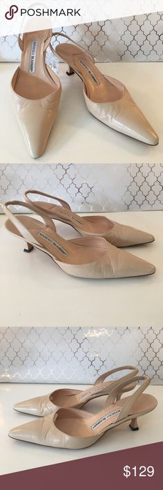 ⭐️MANOLO BLAHNIK LOVLEY KITREN HEELS 💯AUTHENTIC MANOLO BLAHNIK LOVELY CREAM COLORED SLING BACK KITTEN HEELS 100% AUTHENTIC. PRETTY AND STYLISH TOTALLY ON TREND. TRUE SUPER HIGH END LUXURY. THE COLOR IS CREAM AND THE SIZE IS A EUROPEAN 38 WHICH CONVERTS TO AN AMERICAN 8 Manolo Blahnik Shoes Heels
