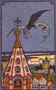 "fletchingarrows: "" nagromthewicked: "" Fragment of cover - Ivan Bilibin "" three-headed dragon! Art Populaire Russe, Russian Folk Art, Russian Style, Russian Painting, Fairytale Art, Art Graphique, Children's Book Illustration, Silkscreen, Art Nouveau"