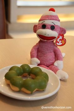 A delicious matcha ring for Lil' Squirt at Mister Donut  (Shanghai, China)