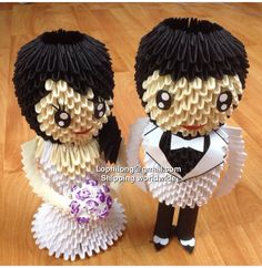 Etsy の Groom and Bride 3 3D Origami by OrigamiPhiLong