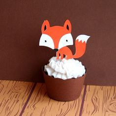 OK.  That's it.  This is ADORABLE for cupcake perfection:  Woodland Creatures Bright Orange Fox Cupcake by PaperPartyParade, $3.00