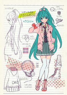 Vocaloid Miku Hatsune...In contrast to other images this design is full of information. It has a quality of a school writing book that is very appealing.