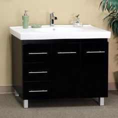 Black Wood 39-inch Single Sink Vanity with Left Side Drawers - Sears