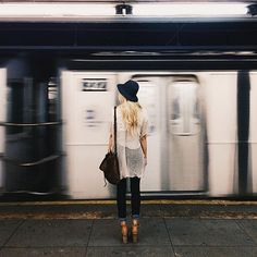 Black and white outfit. love the mesh top and hat. Train station. #mood #style