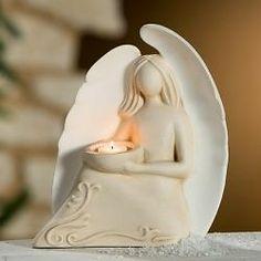 Gilde / Francis Keramik Engel ELE Teelichthalter 25x29 creme Handarbeit 30838