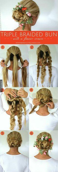 <3 three braided bun