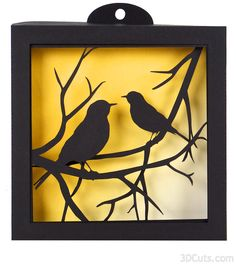 Robins on branches - 3d Shadow Box tutorial by 3dCuts.com, Marji Roy, 3D cutting files in .svg, .dxf, and .pdf formats for use with Silhouette and Cricut cutting machines, paper crafting files