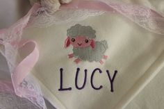 Baby Blanket with embroidered Lamb and Name by LoisLizzaCreations on Etsy