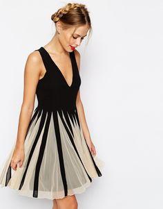 Image 1 ofASOS Mesh Insert Fit And Flare V Neck Mini Dress