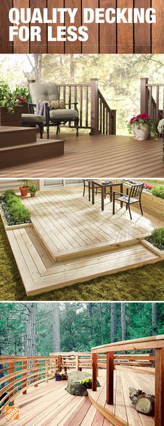 You want plenty of options when you're getting ready to build your dream deck. We have low-maintenance, long-lasting composite decking in many colors and styles… all at great prices. Click to explore all our decking materials from the top brands at The Home Depot.