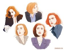 """Scully fan art by: jenmondain """"I ended up just doodling Scully as practice all evening. Still trying to work out how to colour things. What even is colour?"""""""