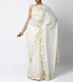 In love with this Shehla Khan Sari -   White Shimmer Georgette Saree with White & Green Threadwork